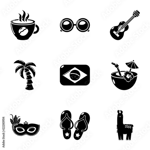 Foto  Brazilian entertainment icons set