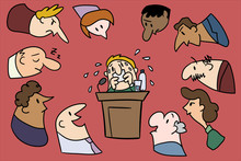 A Businessman At A Podium Is Afraid Of Speaking Publicly, Because He Feels The Audience Staring At Him.