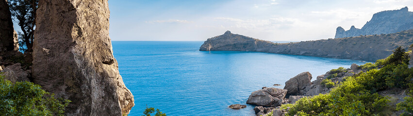 The blue lagoon in a tropical Paradise. Beautiful summer sea landscape at the resort, travel reservations. Panoramic banner