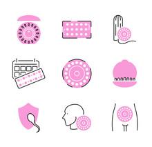 Birth Control Pills Icon Colle...