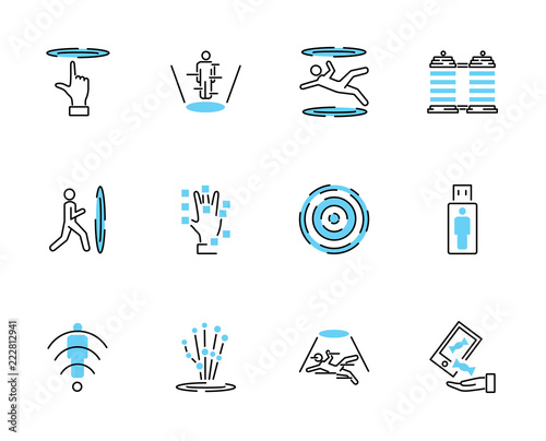 Photo  Teleporting icon collection set