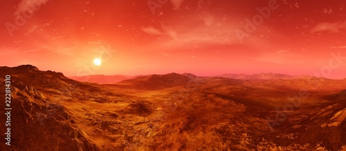 Rouge traffic Martian landscape. Panorama of Mars. Alien landscape.