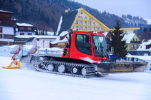 Red Machine For Skiing Slope P...