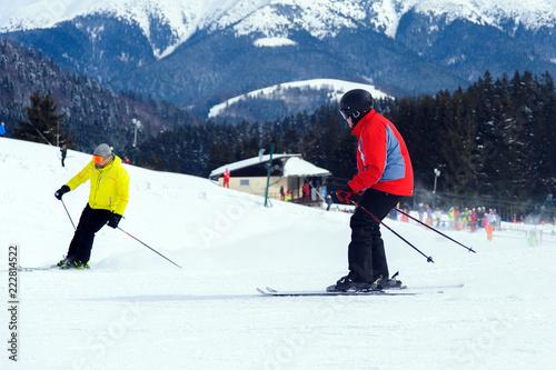 Fotobehang Wintersporten Dynamic picture of a skier on the piste