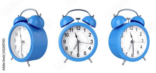 Fotografia  3d alarm shiny clock, 3d rendering