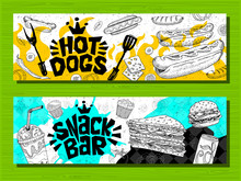Fast Food Colorful Modern Banners Set Labels. Fast Food. French Fries. Donuts. Hot Dog, Hamburger, Coffee, Wings, Nuggets, Tacos.