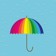 Rainbow Colored Umbrella On Bl...
