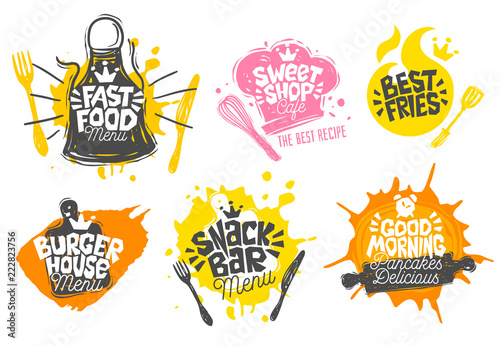 Fotomural Sketch style cooking lettering icons set