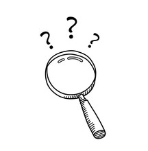 Hand Drawn Magnifying Glass Doodle Cartoon With Question Marks