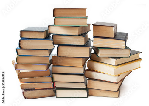 Fotografía  books pile isolated on white background