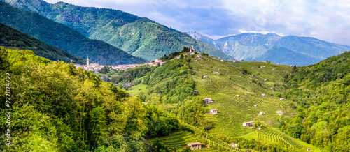 Fototapeta Panorama of the Valdobbiadene wine region, Italy obraz