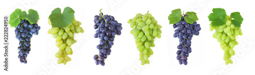 Canvastavla  grapes brunch isolated on white background