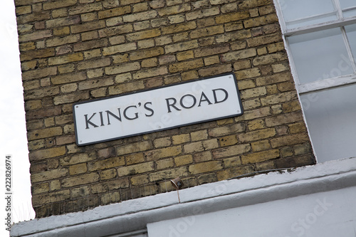 Photo  Kings Road Street Sign, Chelsea, London