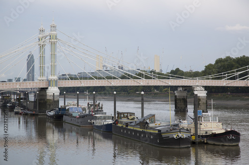 Photo  Albert Bridge with Barges; Chelsea; London