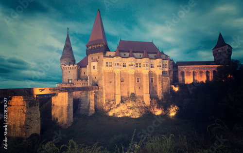 Keuken foto achterwand Europa Corvin Castle in night lights, Romania