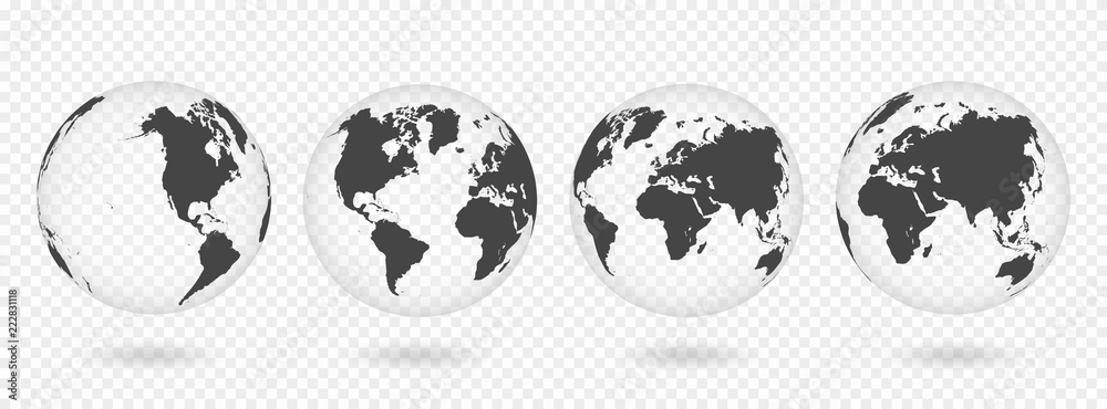 Fototapety, obrazy: Set of transparent globes of Earth. Realistic world map in globe shape with transparent texture and shadow
