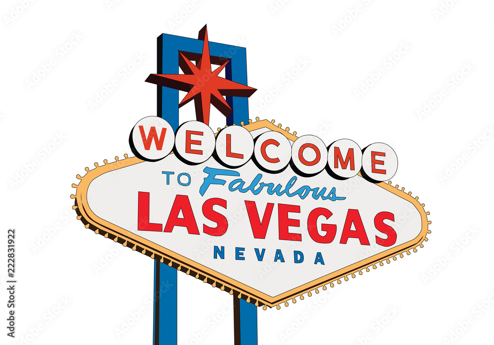 Fototapeta Welcome to Fabulous Las Vegas Nevada sign isolated on white vector illustration.