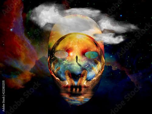 Fotografie, Obraz Mask in colorful universe