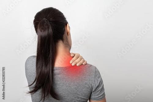 Fototapeta Woman with shoulder pain on white background obraz