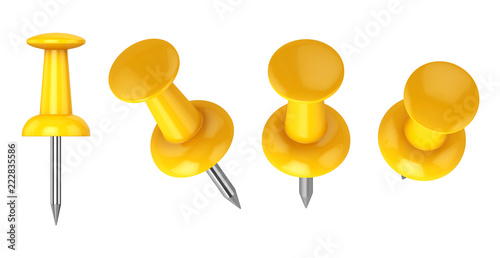 Fényképezés  Collection of various push pins isolated on white background, 3d rendering