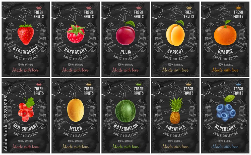 Fototapeta Fruit and berries labels set