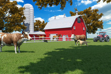 Farm Scene With Red Barn And F...