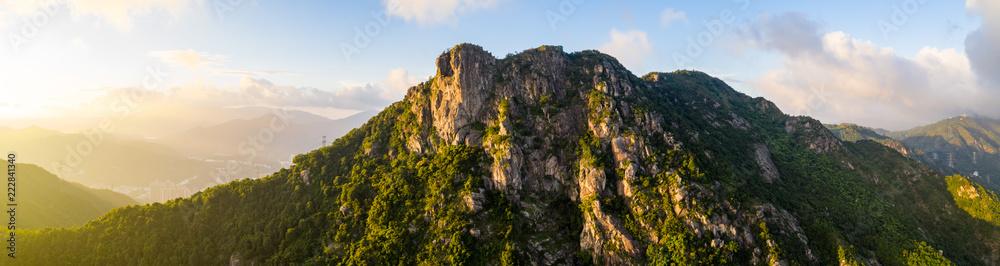 Fototapeta Panoramic of Lion Rock mountain under sunset