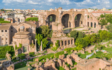 The Basilica Of Maxentius And The Temple Of Romulus In The Roman Forum. Rome, Italy.