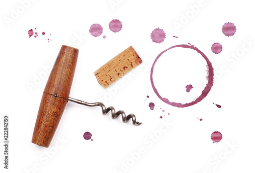 Red wine cork, opener and stain rings isolated