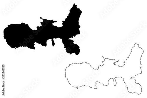 Fotomural Elba (island in Italy, Tuscan Archipelago) map vector illustration, scribble ske