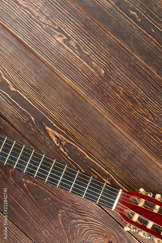 Photo Acoustic classic guitar head and copy space