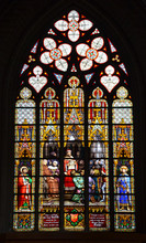 Stained Glass Window In Old Church In Belgium