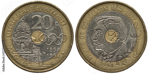 France French bimetallic coin 20 twenty francs 1994, Subject