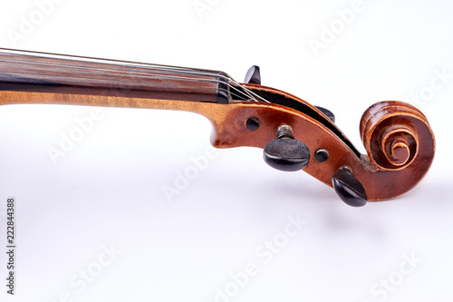 Stampa su Tela Scroll of the violin on white background