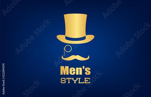 Fotografie, Obraz Male hat, mustache and monocle vector. Men's style logo.