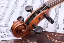 Old Violin Scroll And Peg Box....