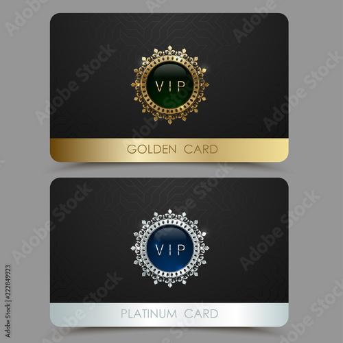 Fotografía  Vector golden and platinum VIP card template