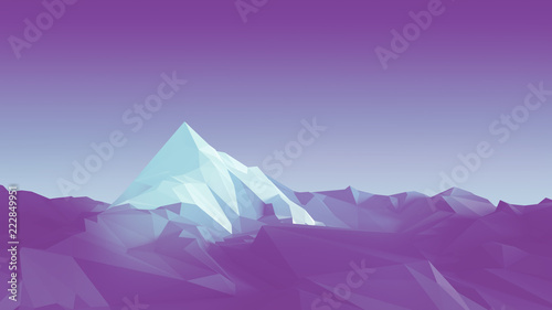 Prune Low-poly image of a mountain with a white glacier at the top. 3d illustration
