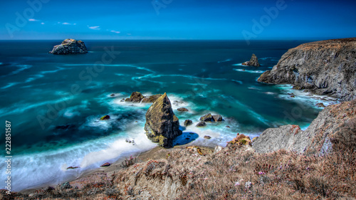 Door stickers Coast Bodega Bay coastline on a blue sky cloudless day long exposure landscape