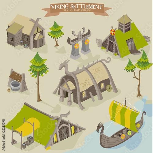Fotografie, Obraz  Viking settlement vector map buider isometric illustration of scandinavian norse