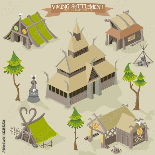 фотография  Viking settlement vector map buider isometric illustration of scandinavian norse