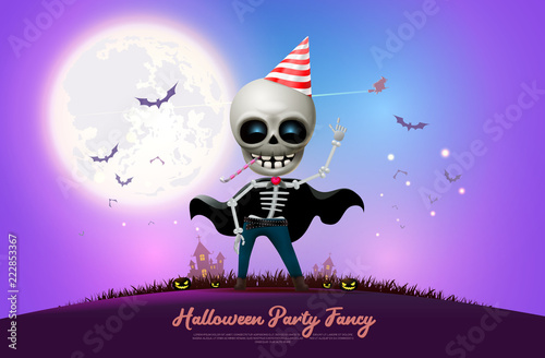 Printed kitchen splashbacks Watercolor skull halloween night full moon party fancy vector illustration