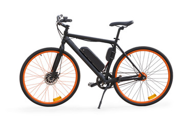 Black electric bike isolated with clipping path