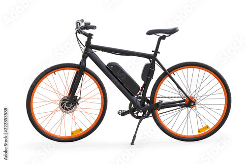 Photo  Black electric bike isolated with clipping path