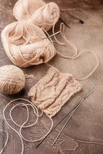 Photo  Knitting wool and knitting needles, knitting equipment