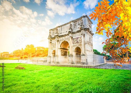 Arch of Constantine and Colosseum, antique Rome city, Italy at fall Canvas Print