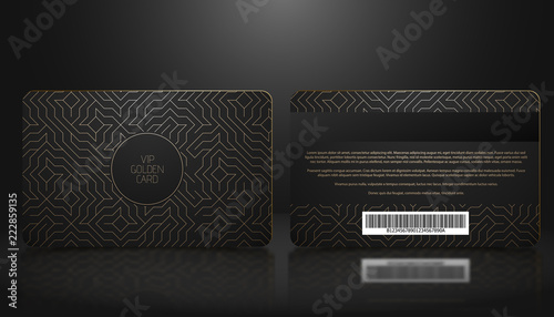 Fototapeta Vector template of membership or loyalty black VIP card with luxury golden geometric pattern. Front and back design presentation. Premium member, gift plastic card. obraz