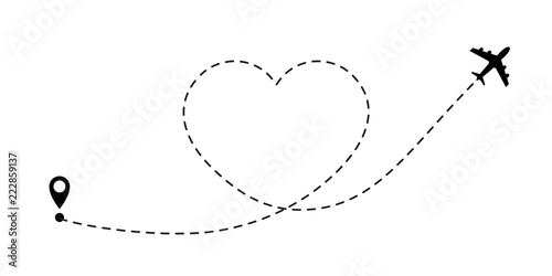 Love travel route. Airplane line path vector icon of air plane flight route with start point and dash line trace