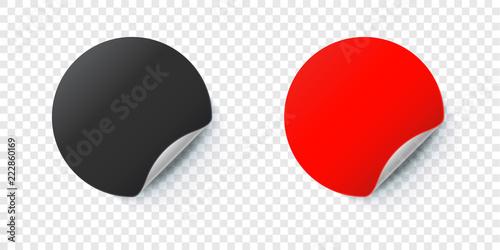 Photo Sticker mockup. Vector round folded paper label