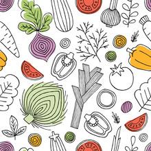 Minimalist Vegetables Seamless...